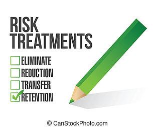 lista de verificação, risco, ilustração, tratamento