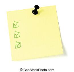 lista de verificación, amarillo, pushpin