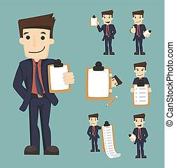 lista de verificación, conjunto, caracteres, hombre de negocios
