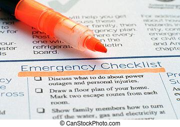 lista de verificación, emergencia