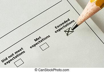 lista de verificación, -, expectations, excedido