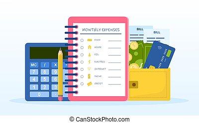 lista de verificación, gastos, mensualmente