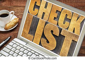 lista de verificación, palabra, tipografía, en, computador portatil