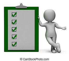 lista de verificación, portapapeles, encuesta, prueba, o, exposiciones
