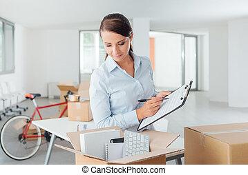 lista de verificación, recolocación, oficina
