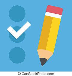 lista de verificación, vector, icono