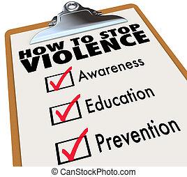 lista de verificación, violencia, parada, cómo, conocimiento...