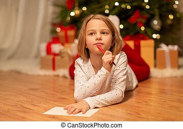 lista desejo, escrita home, menina, natal