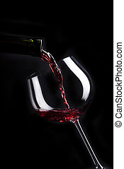 lista, desenho, vinho