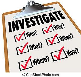 lista, investigar, investigación, preguntas, básico, hechos, cheque