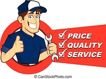 lista, mecánico, servicio