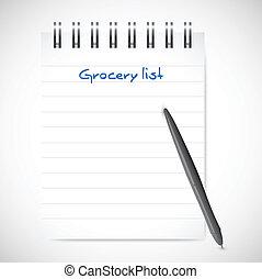 lista, mercearia, notepad, ilustração