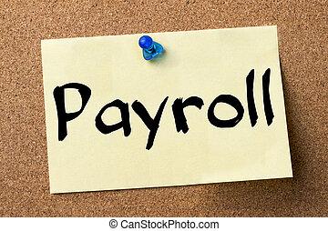 lista płac, -, lepiszcze, etykieta, przypięty, na, biuletynowa deska