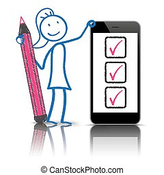 lista, smartphone, stickwoman