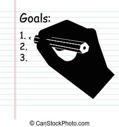 lista, vector, metas, escritura