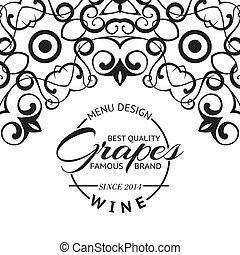 lista, vinho, desenho, layout.