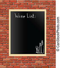 lista, vinho