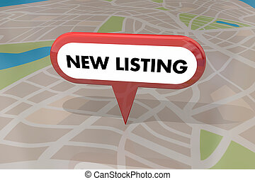 listado, venta, nuevo hogar, casa, 3d, mapa, ilustración, propiedad, alfiler, verdadero