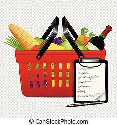 liste achats, isolé, nourritures, fond, panier, transparent