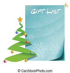 liste, arbre, noël don