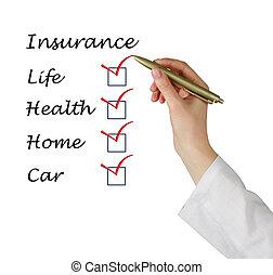 liste, assurance