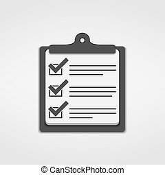 liste, chèque, icône