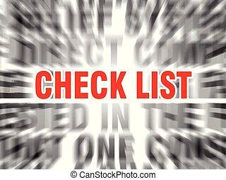 liste, chèque