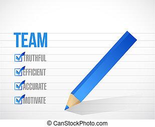 liste, conception, chèque, illustration, équipe