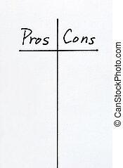 liste, cons, pros, argumente