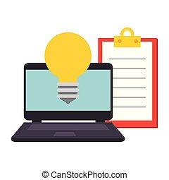 liste contrôle, ampoule, ordinateur portable, lumière