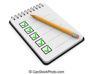 liste contrôle, bloc-notes