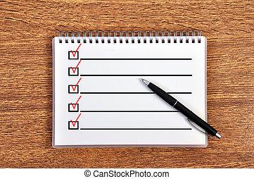 liste contrôle, cahier
