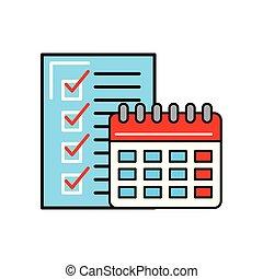 liste contrôle, calendrier, achats, logistique, ligne