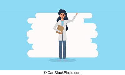 liste contrôle, caractère, animation, docteur féminin