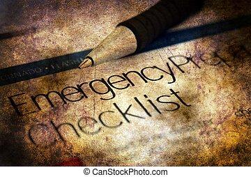 liste contrôle, concept, grunge, urgence