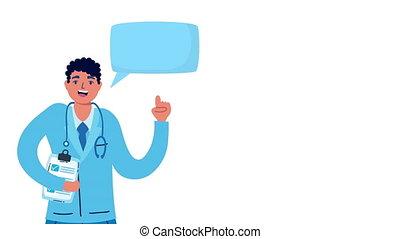 liste contrôle, conversation, professionnel, docteur
