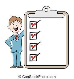 liste contrôle, dessin animé, business