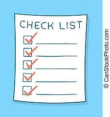 liste contrôle, dessin animé, chèque, rouges, marques