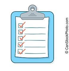 liste contrôle, dessin animé, presse-papiers, chèque, marques