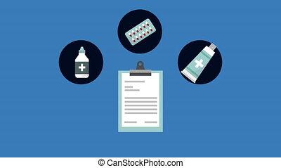 liste contrôle, document médical, animation, ordre