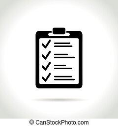liste contrôle, fond blanc, icône