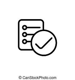 liste contrôle, fond, rapport, ligne, blanc, icône