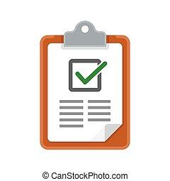 liste contrôle, icon., presse-papiers