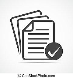 liste contrôle, icon., vecteur, illustration.