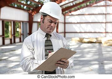 liste contrôle, inspecteur, construction, -, marquer