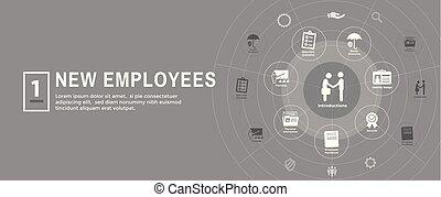 liste contrôle, manuel, processus, etc, nouveau, embauche, icône, employé, ensemble