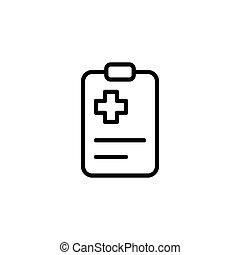 liste contrôle, monde médical, presse-papiers, fond, blanc, icône
