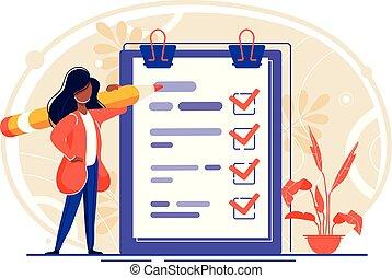 liste contrôle, paper., presse-papiers