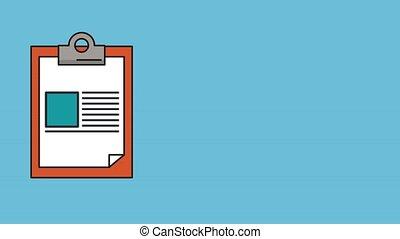 liste contrôle, papier, animation, presse-papiers