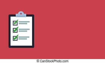 liste contrôle, presse-papiers, animation, hd